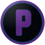 "The logo of the Cuervos de Patillas: a purple ""P"" in square font, bordered in blue, on a black circle studded with blue, bordered in blue and then purple."