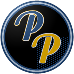 "The logo of the Petroleros de Peñuelas: navy and gold ""PP"" letters in modern type, bordered in white, on a black circle bordered in navy, white and navy again."