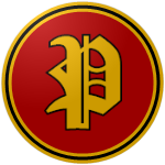 "The logo of the Leones de Ponce: a gothic ""P"" in gold bordered in black, on a red circle bordered in gold-black-gold."