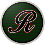 "The logo of the Ingenieros de Rincón: a black cursive ""R"" bordered in white and red on a green circle with black horizontal lines, bordered in black and then white."