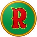 "The logo of the Cotorras de Río Grande: a bright red ""R"" in quirky type bordered in black and yellow on a green circle bordered in orange-yellow-orange."