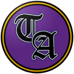 "The logo of the Poetas de Toa Alta: ""TA"" in black Gothic font, bordered in white, on a purple glossy circle bordered in black-gold-black."
