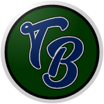 """The logo of the Llaneros de Toa Baja: """"TB"""" in navy informal script font, bordered in white, on a green circle bordered in black and then white."""