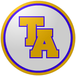"The logo of the Macabeos de Trujillo Alto: a golden ""TA"" bordered in in violet, on a white circle bordered in deep blue and then gold."
