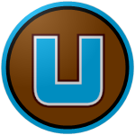 "The logo of the Montañeses de Utuado: a squarely-built light blue ""U"" bordered in white and brown on a brown circle, bordered in black and light blue."