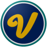 "The logo of the Avancinos de Villalba: a gold slightly cursive ""V"" on a navy circle, bordered in white and teal."
