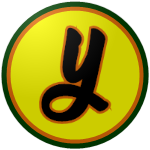 "The logo of the Azucareros de Yabucoa: a lowercase ""y"" in black, bordered in orange, on a yellow circle, bordered in orange and then green."