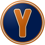 "The logo of the Corsos de Yauco: an orange ""Y"" in a slightly rounded sans serif font, bordered in white and black, on a navy circle bordered in orange, white, orange."
