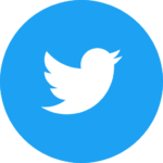 The Twitter icon in circular form: a white bird inside a blue circle.